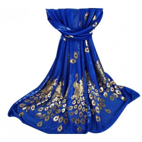 Foulard Bleu Paon Doré
