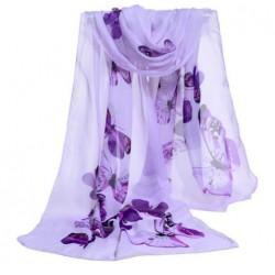 Foulard Mousseline Violet Papillons