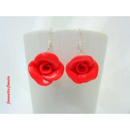 """Boucles d'oreilles Fimo Fleur """"Rose"""" Rouge"""
