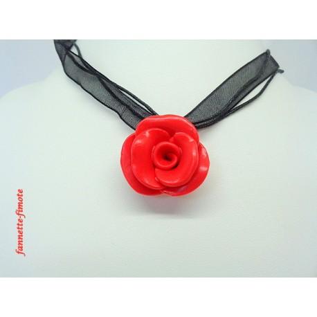 "Collier Fimo Fleur ""Rose"" Rouge"