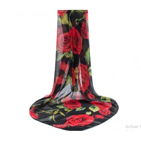 Foulard Mousseline de Soie Roses Rouge