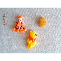 3 Breloques Enfant  Fimo Winnie l'ourson Tigrou + Miel