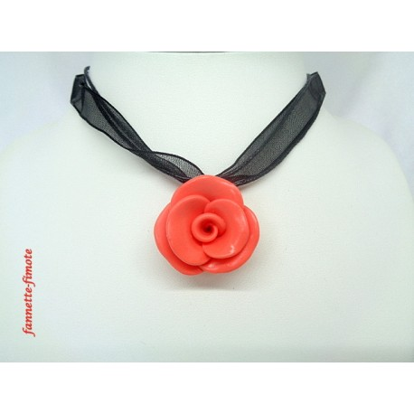 "Collier Fimo Fleur ""Rose"" Orange Corail"