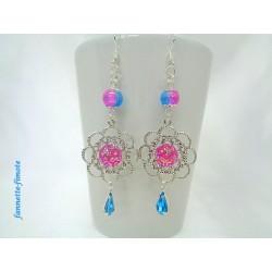 Boucles d'oreilles Rosace argent + Cabochon Rose