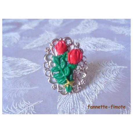 """Bague Ovale Filigrane Argentée Fimo Fleur """"Bouquet de Roses Rouge"""""""