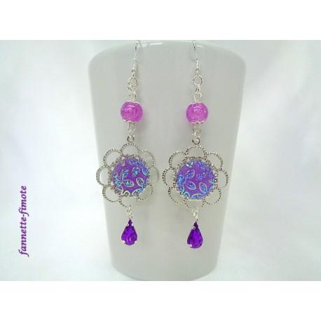 Boucles d'oreilles Rosace argent + Cabochon Violet