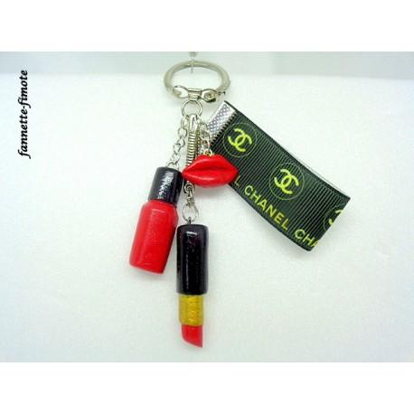 """Porte clé Fimo """"Chanel"""" Rouge à lèvre + Vernis Rouge"""