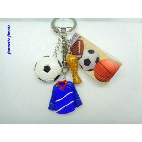 """Porte clé Fimo + Ruban """"Football"""" Equipe de France"""