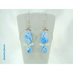 Boucles d'oreilles Fimo Goutte Bleu Turquoise