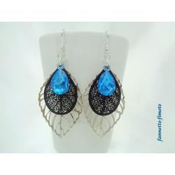 Boucles d'oreilles Fantaisie Goutte Bleu + Feuille