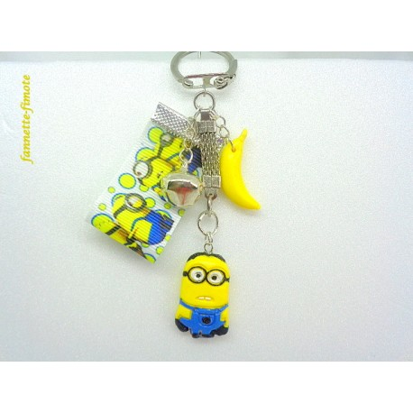 """Porte clé Enfant Fimo """"Minion 3 + Banane"""" Jaune/Bleu"""
