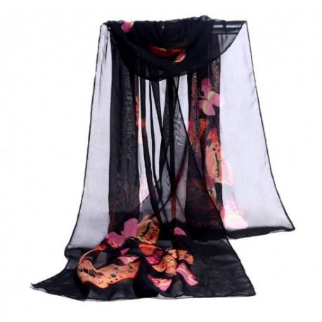 Foulard Mousseline Noir Papillons