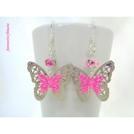 Boucles d'oreilles Papillon Rose