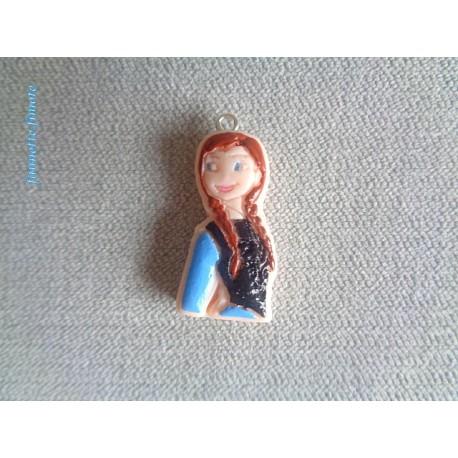 Breloque Enfant  Fimo Anna Reine des neiges - Vendu à l'unité