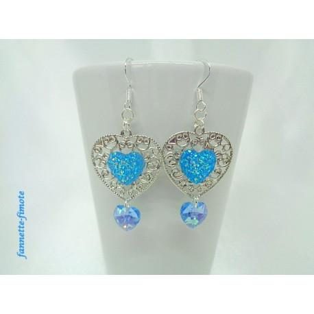 Boucles d'oreilles Coeur argent + Swarovski Bleu Turquoise