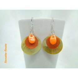 "Boucles d'oreilles Fimo ""Mini Goutte"" Orange + Nacres Orange/Jaune"