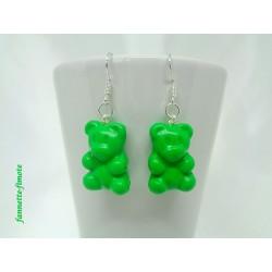 Boucles d'oreilles Fimo Ourson Vert
