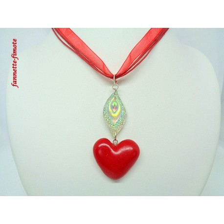 Collier Fimo Coeur Rouge