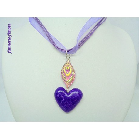 Collier Fimo Coeur Violet