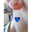 Boucles d'oreilles Coeur de cristal Bleu