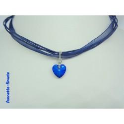 Collier Coeur de cristal Bleu