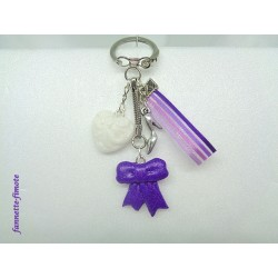"Porte clé Fimo ""Girly"" Noeud violet"