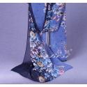 Foulard Bleu Fleuris