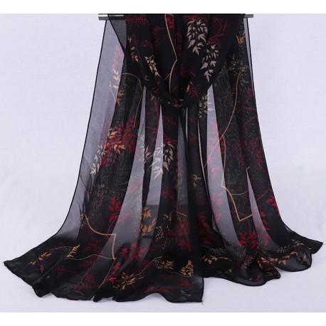 Foulard Noir et Rouge feuillage