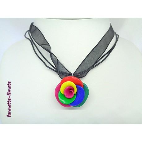"""Collier Fimo Fleur """"Rose"""" Multicolore"""