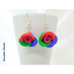"""Boucles d'oreilles Fimo """"Rose"""" Multicolore"""