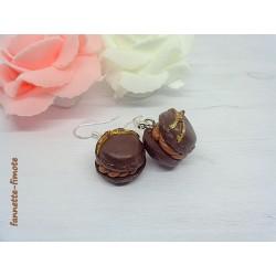 Boucles d'oreilles Fimo Macaron chocolat