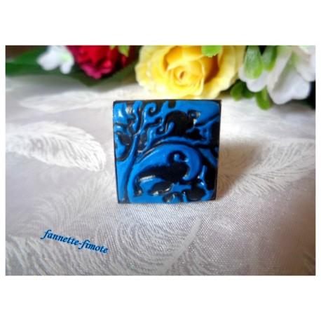 """Bague Carré Fimo """"Imprimé"""" Noir/Bleu"""