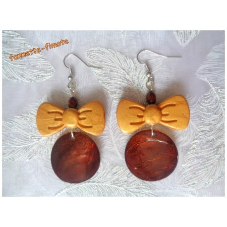"Boucles d'oreillles Fimo ""Noeud Papillon"" Or + Nacre Marron"