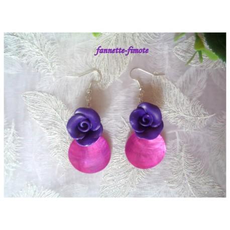 """Boucles d'oreillles Fimo """"Rose"""" Violette + Nacre Rose"""
