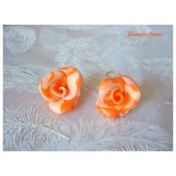 """Boucles d'oreilles Fimo Fleur """"Rose"""" Orange dégradé"""