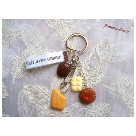 "Porte clé Fimo ""Gourmand"" Petits Biscuits + Chocolat"