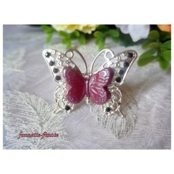 "Bague Papillon Filigrane Argenté Fimo ""Papillon"" Bordeaux"