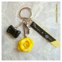 "Porte clé Fimo ""Rose"" Jaune + Ruban"