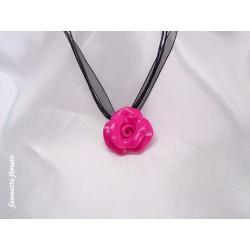 """Collier Fimo Fleur """"Rose"""" Framboise"""