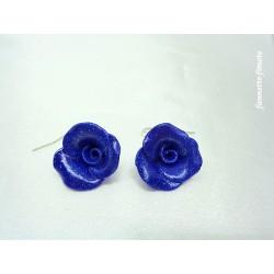"""Boucles d'oreilles Fimo Fleur """"Rose"""" Bleu Pailletée"""