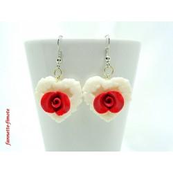 """Boucles d'oreilles Fimo """"Cœur + Rose"""" Rouge/Blanc"""