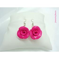 """Boucles d'oreilles Fimo Fleur """"Rose"""""""