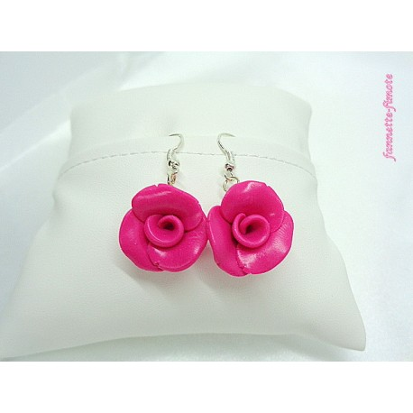 """Boucles d'oreilles Fimo Fleur """"Rose"""" Framboise"""
