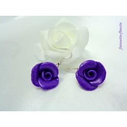 """Boucles d'oreilles Fimo Fleur """"Rose"""" Violette"""