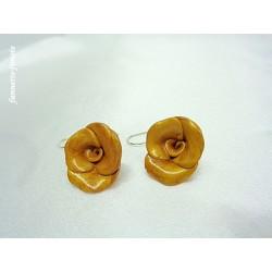 """Boucles d'oreilles Fimo Fleur """"Rose"""" Or"""