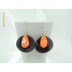 """Boucles d'oreilles Fimo """"Goutte d'eau"""" Orange/Blanc + Nacre Noir"""