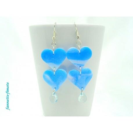 """Boucles d'oreilles Fimo """"Loves"""" Bleu + Goutte"""