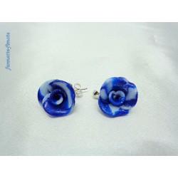 """Boucles d'oreilles clous Fimo Fleur """"Petite Rose"""""""