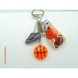 """Porte clé Fimo + Ruban """"Basket"""" Ballon"""