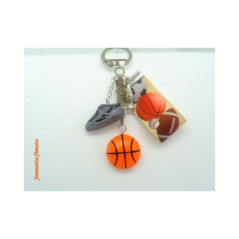 Porte cl fimo ruban basket ballon chaussure bijoux artisanaux - Porte cle en pate fimo ...